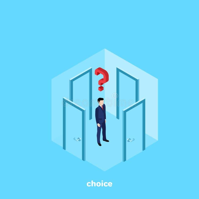 Um homem em um terno de negócio está em uma sala com quatro portas e pensa qual para ir ilustração do vetor