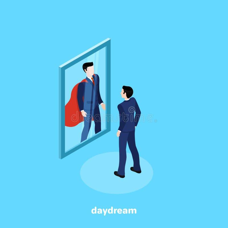 Um homem em um terno de negócio olha no espelho e vê lá um super-herói ilustração royalty free