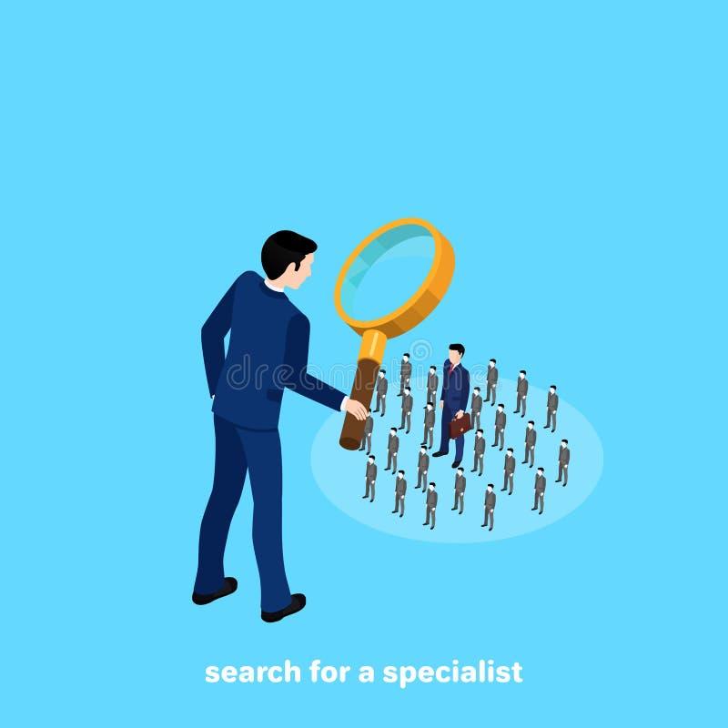 Um homem em um terno de negócio olha os povos através de uma lupa ilustração stock