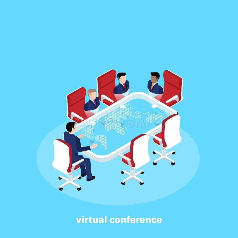 Um homem em um terno de negócio senta-se em uma mesa esperta e guarda-se uma conferência remota ilustração do vetor