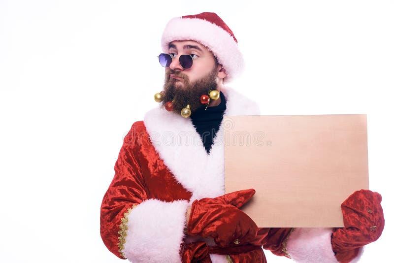 Um homem em um traje de Santa Claus foto de stock