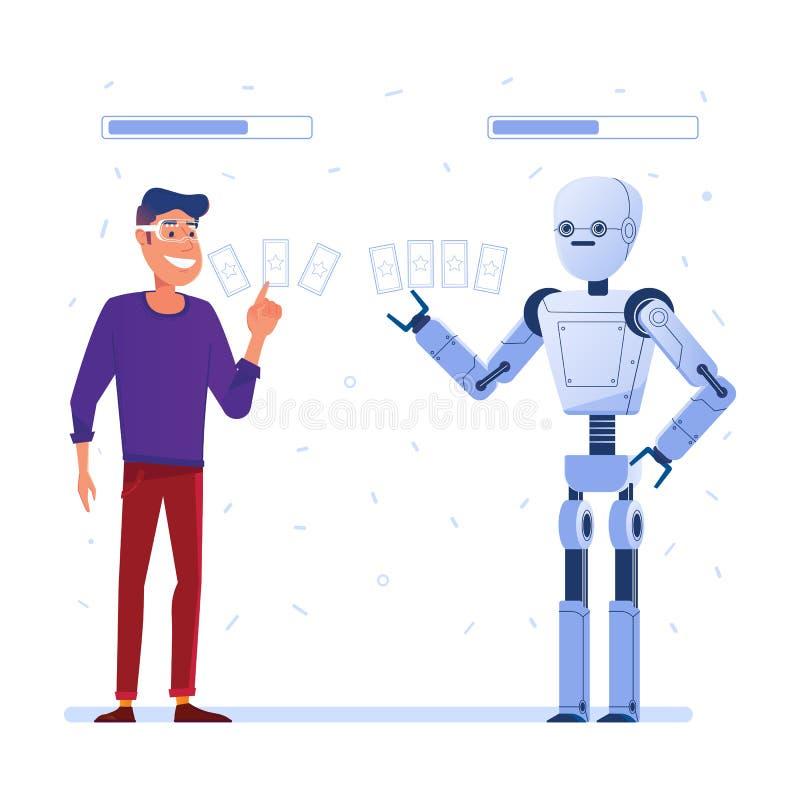 Um homem em vidros de VR joga o jogo de cartas na realidade aumentada com um robô ilustração royalty free