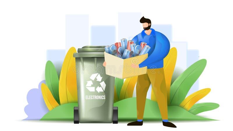 Um homem está classificando o desperdício eletrônico Ilustração lisa do vetor que mostra o conceito de projeto do lixo eletrônico fotos de stock royalty free