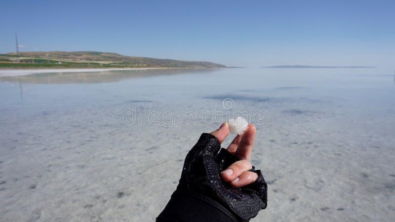 Um homem está guardando um floco de sal em Salt Lake, Turquia Um homem está guardando algo imagem de stock royalty free