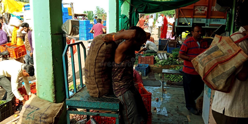 Um homem está pegarando o saco dos vegetais usando sua parte traseira foto de stock royalty free