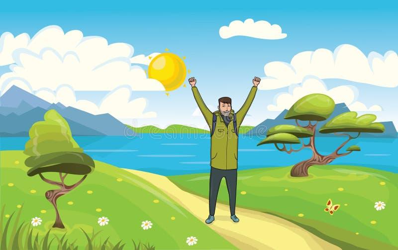Um homem feliz novo, mochileiro com m?os levantadas no beira-mar Caminhante, explorador Um s?mbolo do sucesso Vetor ilustração royalty free