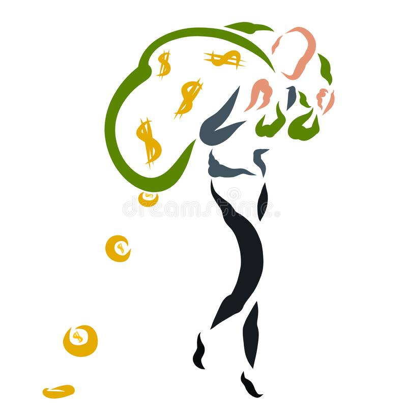 Um homem fino leva dois sacos grandes do dinheiro, moedas cai fora do saco ilustração stock