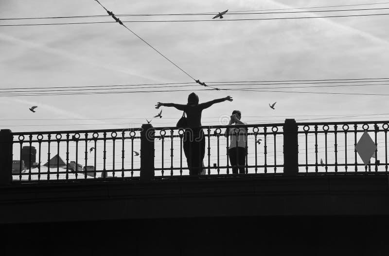 Um homem fotografa uma mulher com suas mãos acima na ponte Sobre pássaros de voo da mulher fotos de stock