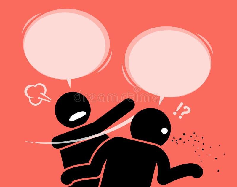 Um homem golpeia seu amigo para o absurdo de fala ilustração stock