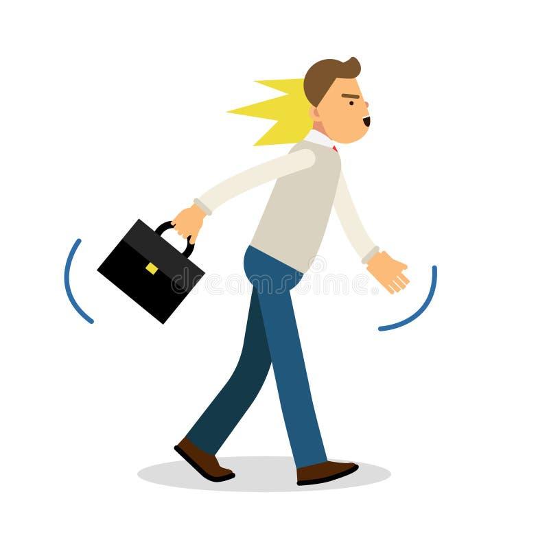 Um homem irritado que anda com uma pasta, virou a ilustração forçada do vetor do homem ilustração stock