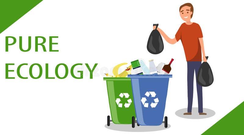Um homem joga sacos do lixo no lixo O conceito do esforço para a limpeza A luta para o ambiente Throwin dos homens ilustração stock