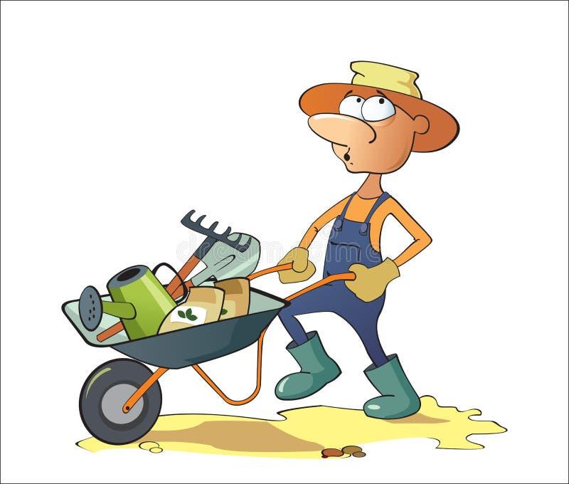 Um homem leva ferramentas de jardim em um carrinho de mão imagem de stock royalty free