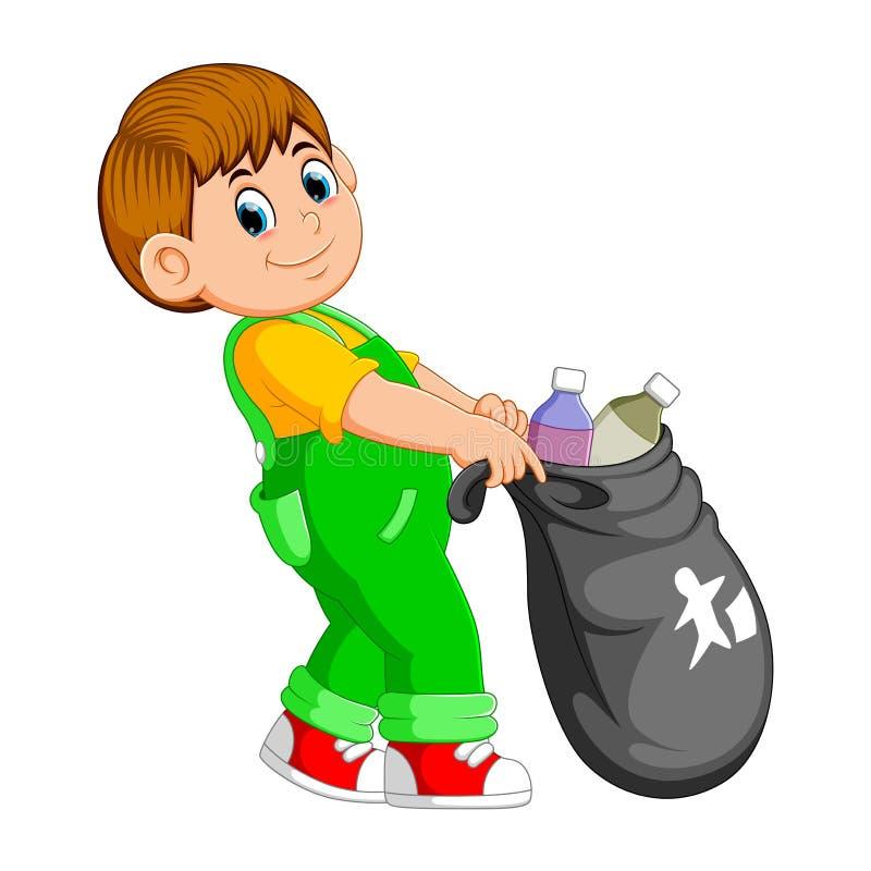 Um homem leva o saco de lixo ilustração stock