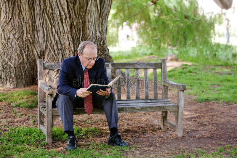 Um homem mais idoso aprecia o livro imagem de stock royalty free