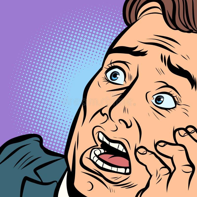 Um homem, um medo e um terror amedrontados Enfrente o close-up ilustração stock