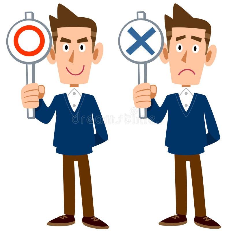 Um homem mostra respostas de correto e de incorreto ilustração do vetor