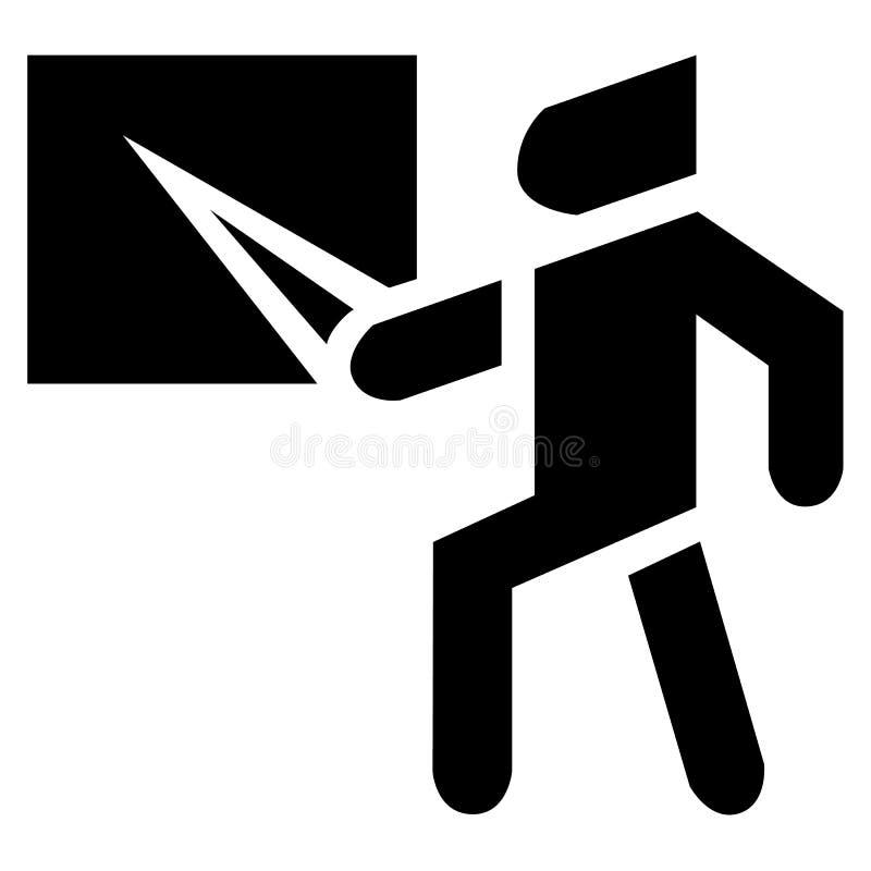 Um homem mostra um sumário do programa demonstrativo de realizações do negócio em um quadro-negro em um ícone do vetor ilustração stock
