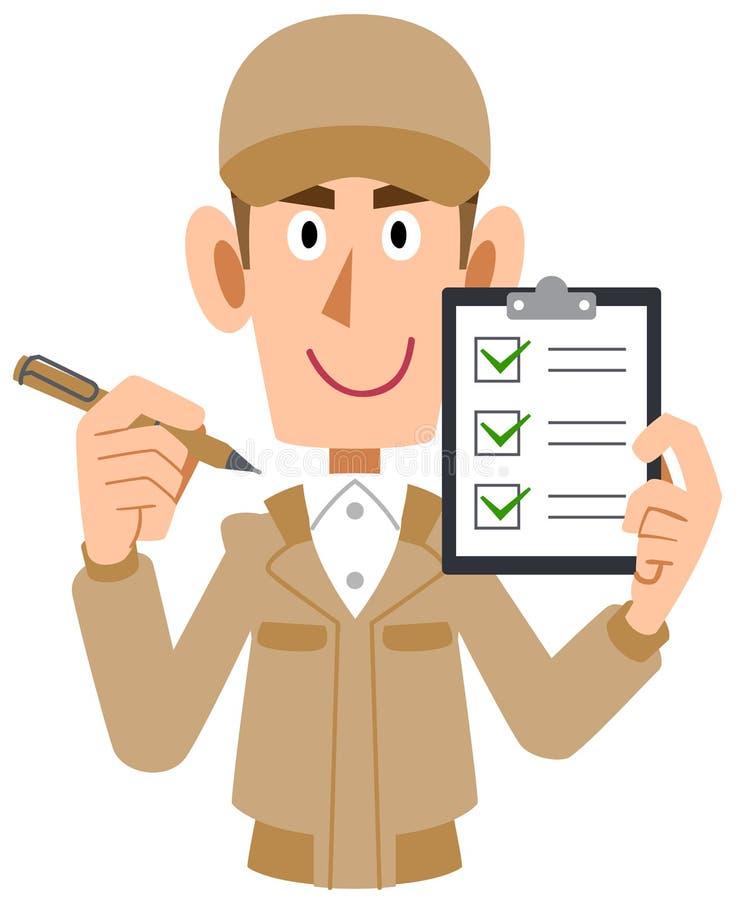 Um homem na roupa de trabalho que guarda a lista de verificação à disposição ilustração stock