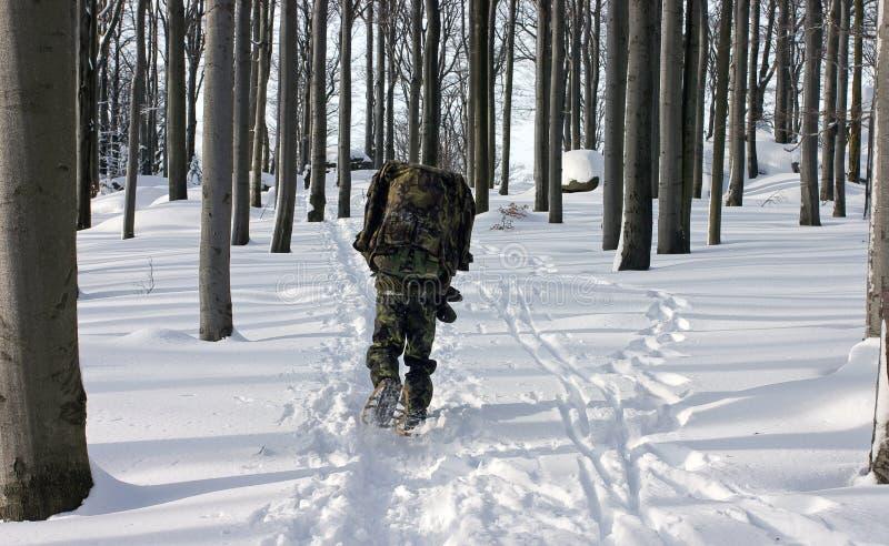 Um homem no uniforme que anda através da floresta do inverno fotos de stock