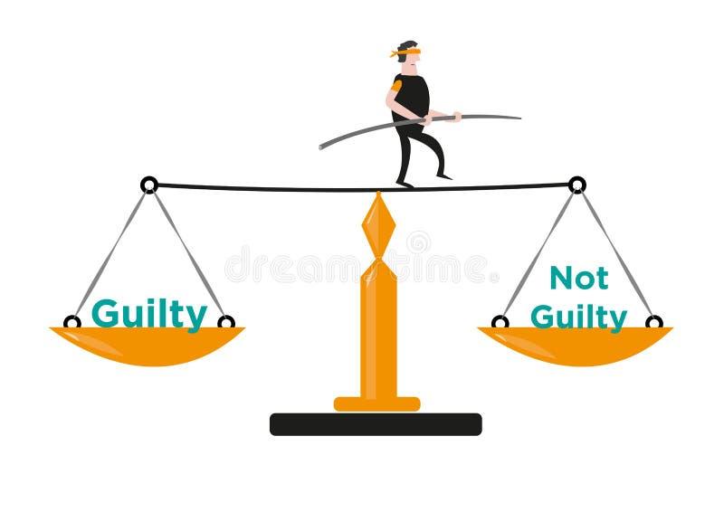 Um homem nos equilíbrios ele mesmo em justiça Scale Clipart editável ilustração stock