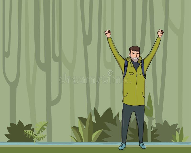 Um homem novo, mochileiro com mãos levantadas no caminhante da floresta da selva, explorador, alpinista Um símbolo do sucesso ilustração royalty free
