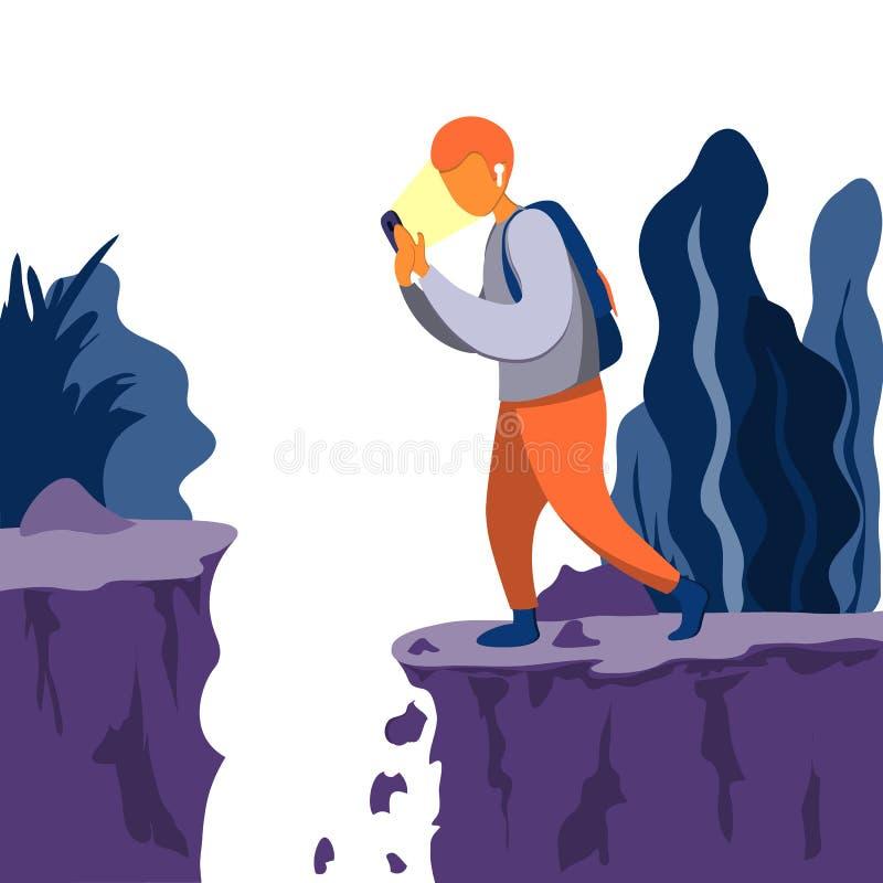 Um homem novo olha o telefone sem parar e vai na estrada Serido ao precipício Vá não observar nada ilustração do vetor