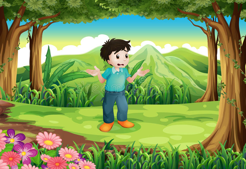Um homem novo perdido no meio da floresta ilustração do vetor