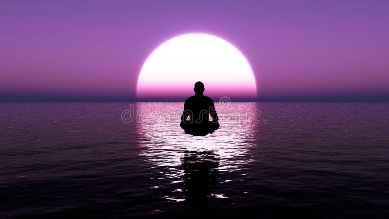 Um homem novo que senta-se na meditação profunda Meditação da ioga pelo homem no oceano no nascer do sol foto de stock