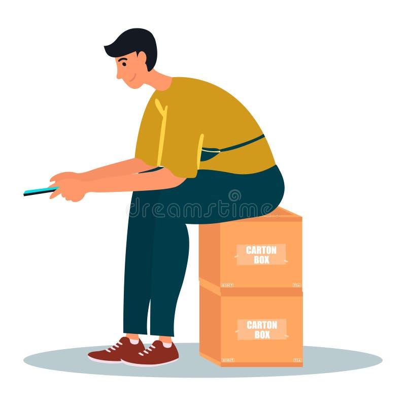 Um homem novo senta-se em caixas da caixa e em verificar próprio smartphone O homem está enrolando o feed noticioso Ilustra??o do ilustração stock