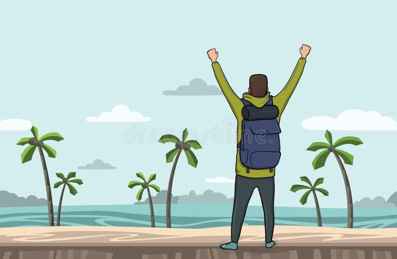 Um homem novo, vista traseira do mochileiro com mãos levantadas na praia do mar ilustração royalty free