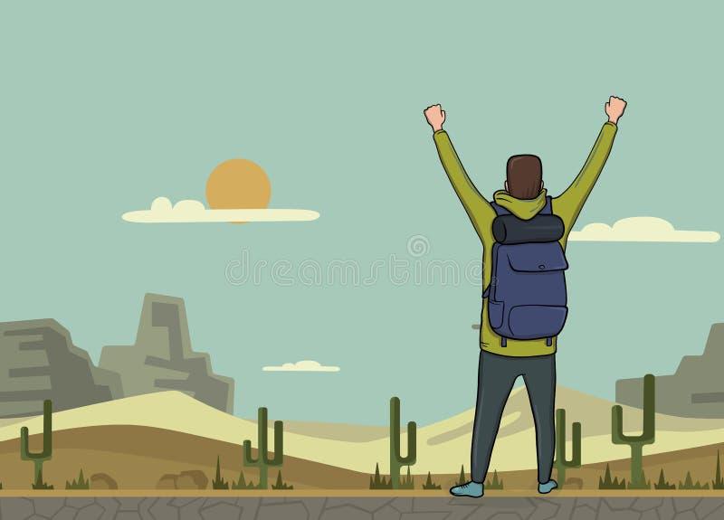 Um homem novo, vista traseira do mochileiro com mãos levantadas no deserto Caminhante, explorador Um símbolo do sucesso Vetor ilustração stock