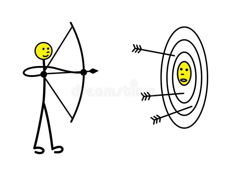 Um homem pequeno dispara em uma curva de um alvo, em que seu concorrente é tirado metaphor Vetor ilustração do vetor