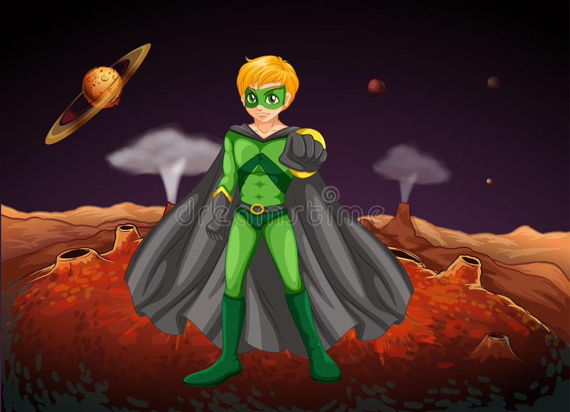 Um homem poderoso no outerspace ilustração stock