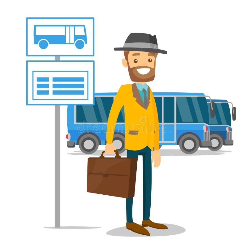 Um homem que espera em uma parada do ônibus com calendário ilustração do vetor