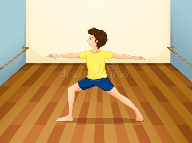 Um homem que executa a ioga dentro de uma sala ilustração do vetor