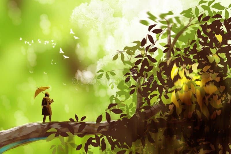 Um homem que guarda o guarda-chuva e a posição na árvore gigante, fantasia s ilustração do vetor