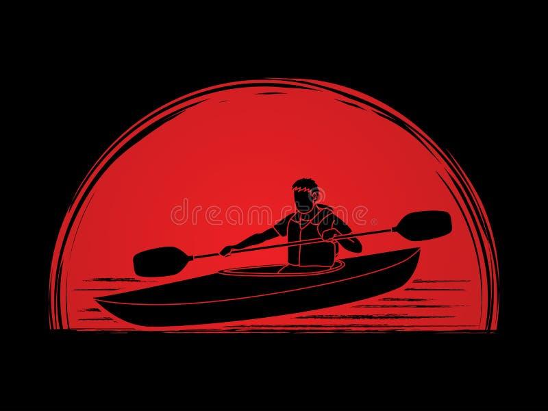 Um homem que kayaking ilustração royalty free