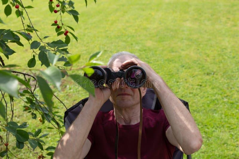 Um homem que olha atrav?s dos bin?culos foto de stock royalty free