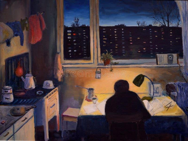 Um homem que senta-se na cozinha na noite, pintura a óleo ilustração royalty free
