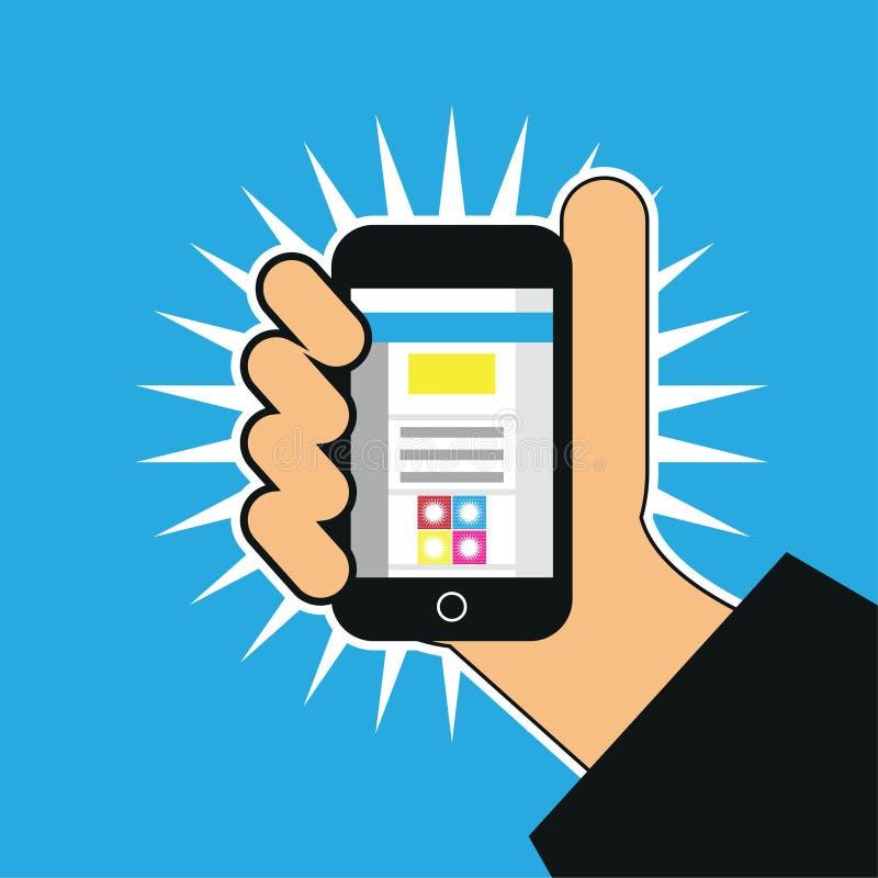 Um homem que tenta entrar a aplicação usando a ilustração do telefone ilustração stock