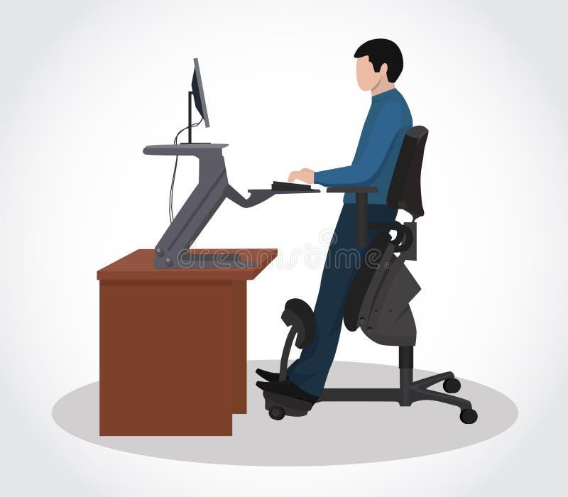 Um homem que trabalha em um computador em uma cadeira ergonômica ilustração do vetor