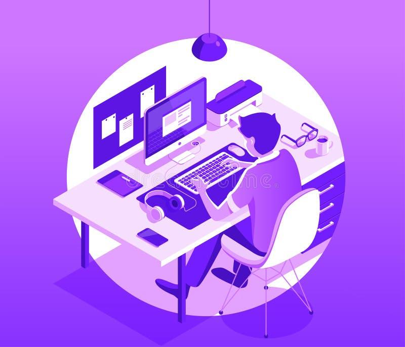 Um homem que trabalha no computador Conceito do espaço de trabalho Ilustração isométrica do vetor 3d ilustração do vetor
