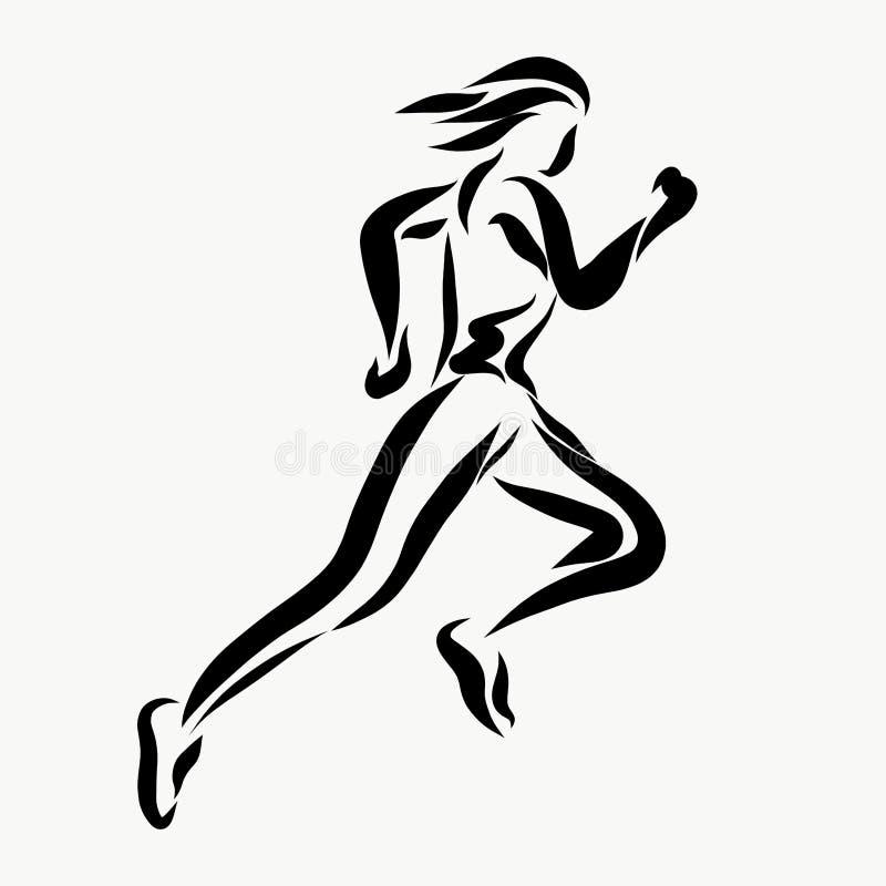 Um homem running pintado em linhas pretas ilustração royalty free
