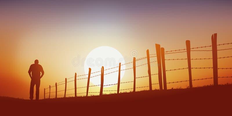 Um homem solitário anda em uma pista do país no por do sol ilustração stock