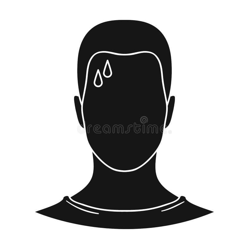 Um homem suado O homem está suando do diabetes Único ícone do diabetes na ilustração preta do estoque do símbolo do vetor do esti ilustração stock