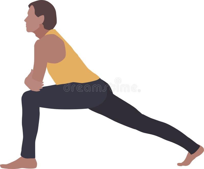 Um homem, uma ioga praticando ou uma ginástica aeróbica ilustração stock