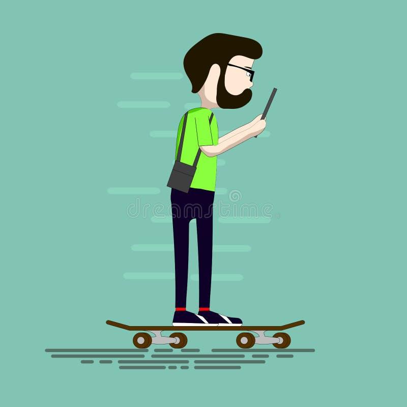 Um homem vai trabalhar em um skate e lê o texto em uma tabuleta indivíduo com passeios de uma barba em um skate ilustração royalty free
