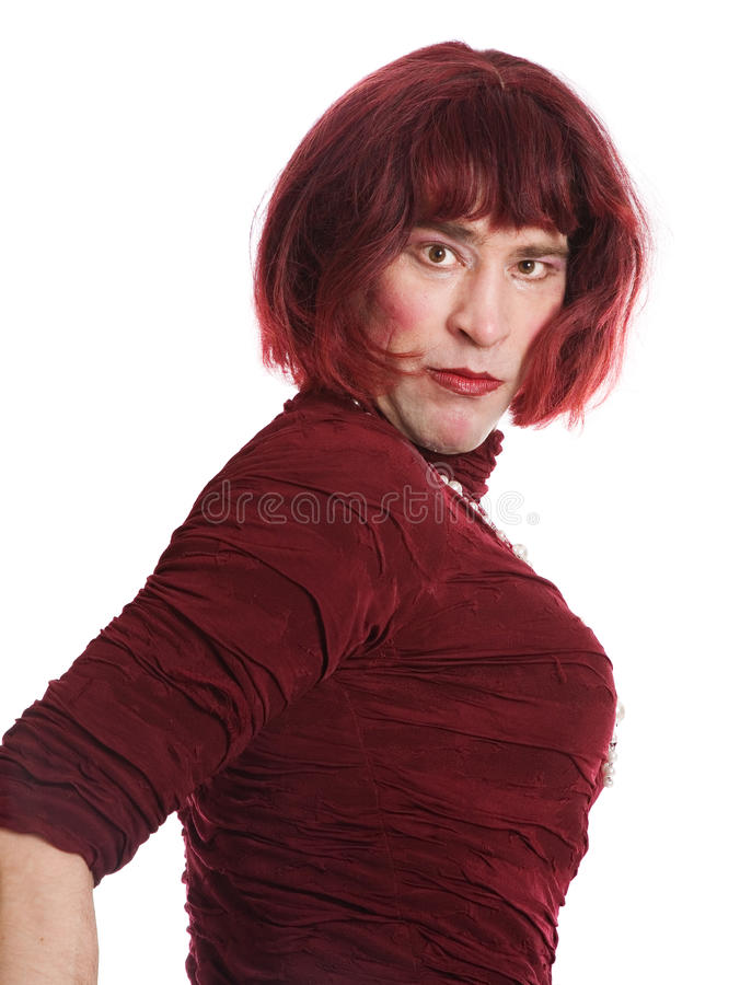 Um homem vestido como uma mulher fotografia de stock