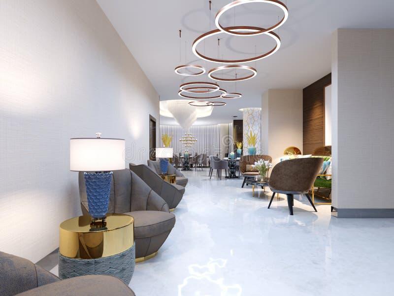 Um hotel moderno com uma área e uma sala de estar de recepção com as grandes cadeiras estofadas do desenhista e um grande candela ilustração royalty free