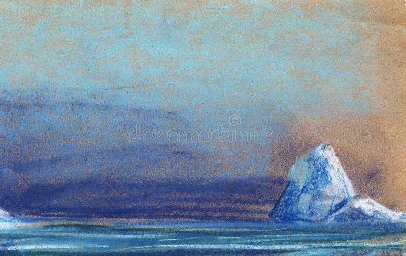 Um iceberg branco pequeno no fundo do céu noturno Pintado com cor pastel na ilustração do papel ilustração do vetor